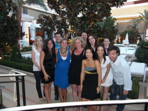 Your intrepid reporter (far right) and the Vegas press trip gang at the Bellagio.