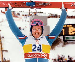 Is it a bird, is it a plane? Er, no - it's the 55th best ski jumper at the Calgary Olympics.