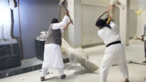 ISIS barbarians destroy ancient artifacts in Mosul.