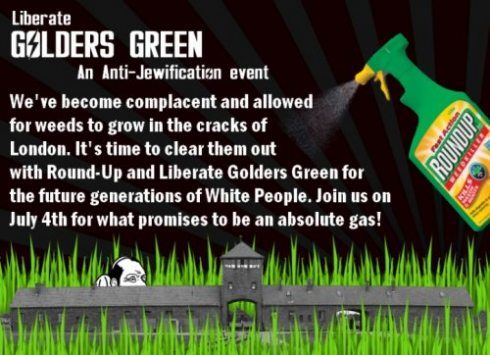 """A promotional flier, headlined """"We're going to have an absolute gas!"""", features a bottle of pesticide spraying a Der Stürmer Jew hiding behind weeds in Auschwitz. They've spared no expense with the evil iconography."""
