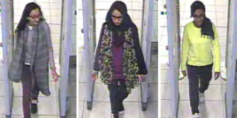 In this three image combo of stills taken from CCTV issued by the Metropolitan Police Kadiza Sultana, 16, left, Shamima Begum,15, center and 15-year-old ISIS bride Amira Abase go through security at Gatwick airport, before they caught their flight to Turkey.